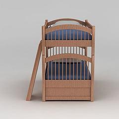 实木儿童上下床模型3d模型