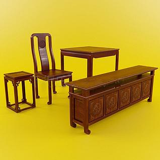 中式复古红木桌椅边柜组合3d模型
