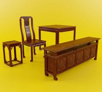 中式复古红木桌椅边柜组合