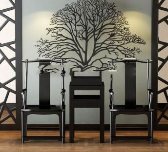 中式实木椅子边几背景墙组合