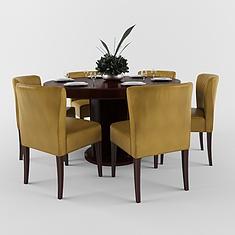 中式餐厅实木餐桌椅组合3D模型3d模型