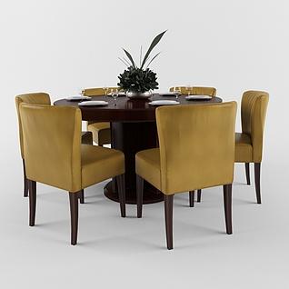 中式餐厅实木餐桌椅组合3d模型