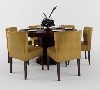 中式餐厅实木餐桌椅组合