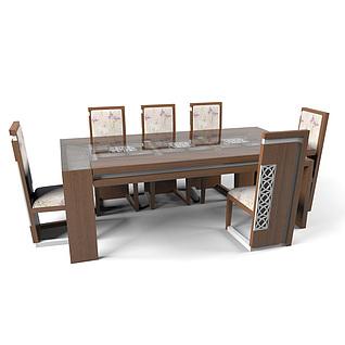 现代简约实木餐桌椅组合3d模型