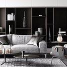 低奢休闲灰色布艺沙发茶几组合模型