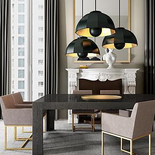 欧式时尚桌椅家具组合3d模型