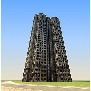 现代高档精品住宅楼3d模型