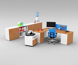 现代办公室桌椅家具组合3d模型