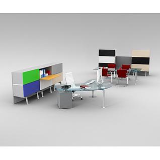 现代时尚办公室桌椅家具3d模型