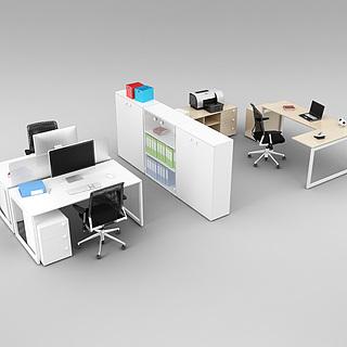 现代办公室经典桌椅家具组合3d模型