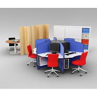 现代时尚办公桌椅组合3d模型
