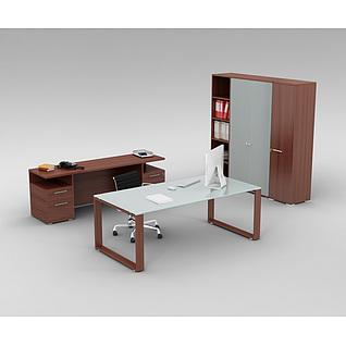 精品时尚办公室桌椅家具组合3d模型