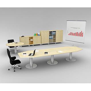 会议室桌椅家具组合3d模型