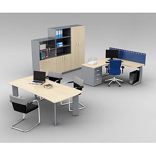 现代公司办公桌椅组合3d模型3d模型