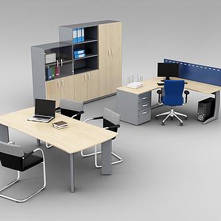 现代公司办公桌椅组合3d模型