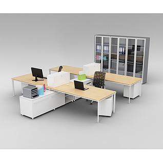 现代办公室桌椅储物柜组合3d模型