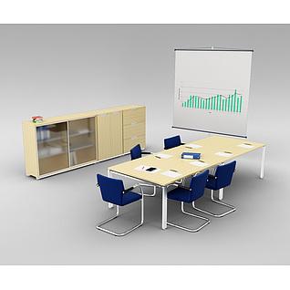 现代会议室桌椅家具组合3d模型