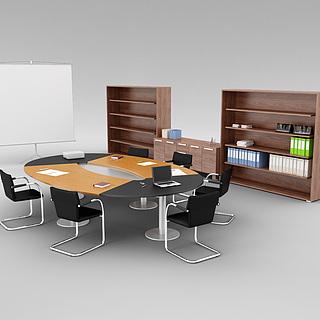 公司会议室桌椅家具组合3d模型