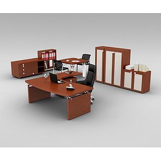 中式办公室实木桌椅家具组合3d模型