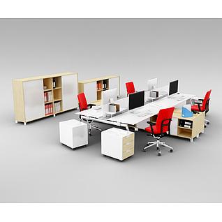 时尚精品办公室桌椅家具组合3d模型3d模型