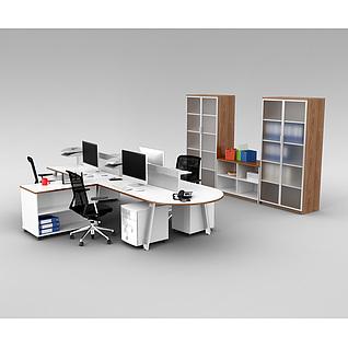 时尚办公室桌椅家具组合3d模型