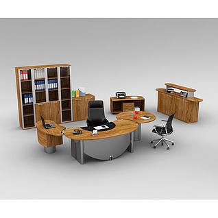 中式办公室家具办公桌整体3d模型