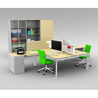 精品办公室办公桌椅家具组合3d模型