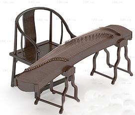 中式古典乐器古筝模型
