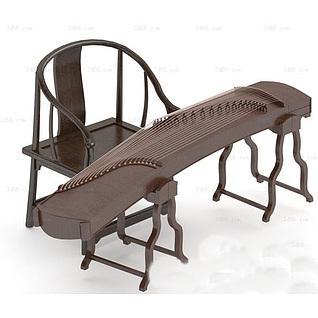 中式古典乐器古筝3d模型