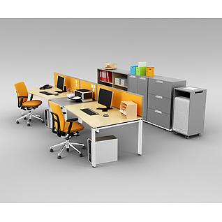 现代时尚办公室桌椅家具组合3d模型