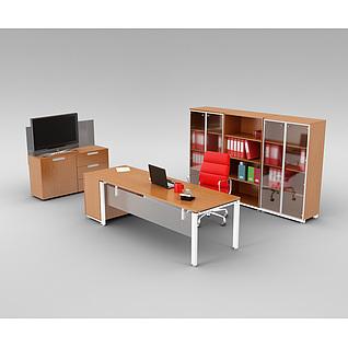 现代办公室办公桌椅组合3d模型