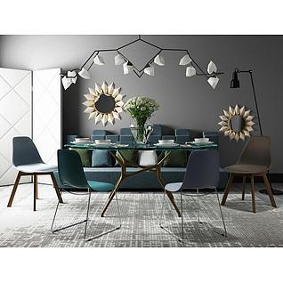 高档简约餐桌椅组合3d模型