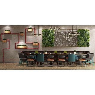 清新时尚餐厅桌椅家具组合3d模型