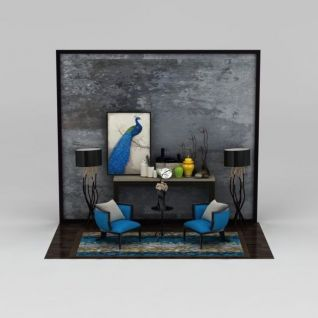新中式客厅家具陈设品组合3d模型