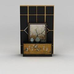 中式实木装饰柜储物柜模型3d模型