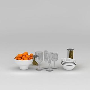 食物餐具组合3d模型
