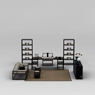 新中式书房桌椅家具组合3d模型