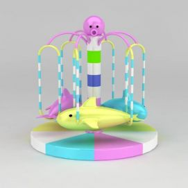 淘气堡旋转海豚游乐设施模型