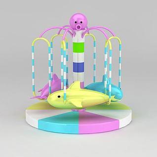 淘气堡旋转海豚游乐设施3d模型