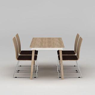 现代简约实木餐桌椅3d模型3d模型