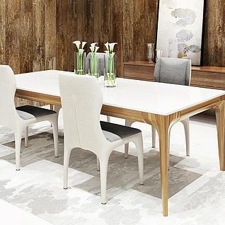 现代时尚餐桌椅组合3d模型