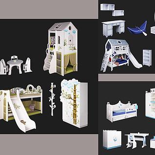 精品儿童卧室家具四件套组合3d模型