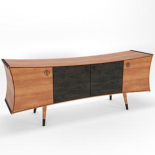 现代时尚个性实木电视柜3d模型