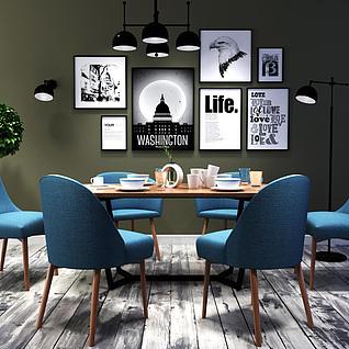 北欧时尚简约餐桌椅组合3d模型