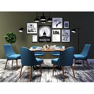 北欧时尚简约餐桌椅组合3d模型3d模型