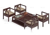 中式传统实木椅子茶几组合3d模型