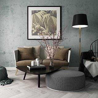 时尚休闲布艺沙发茶几组合3d模型