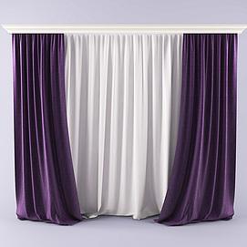 现代时尚双层窗帘模型
