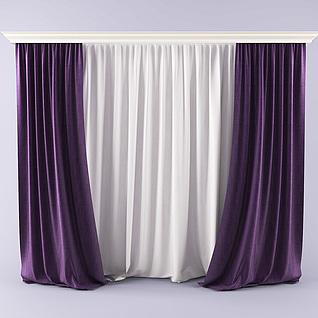 现代时尚双层窗帘3d模型