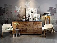 现代时尚椅子边柜陈设品组合模型3d模型